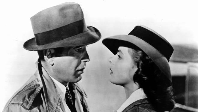 Humphrey Bogart and Ingrid Bergman make up one of film's greatest  pairings in 1942's 'Casablanca.'