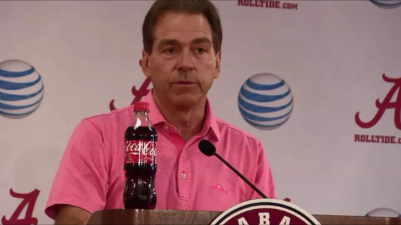 Alabama coach Nick Saban takes aim at the media today after believing it wrote his team off after Ole Miss loss.