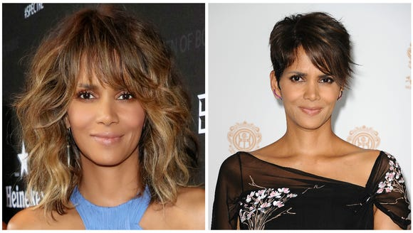(Left) Halle now. (Right) Short hair don't care Halle