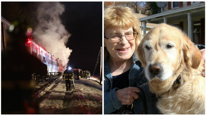 Firefighters work the scene of a Metro-North crash Feb. 3 in Valhalla, left, and Audrey Stone with her guide dog Figo.