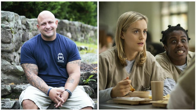Greenburgh Police Officer Jeff Cerone, left, and Taylor Schilling and Uzo Aduba from 'Orange is the New Black.'