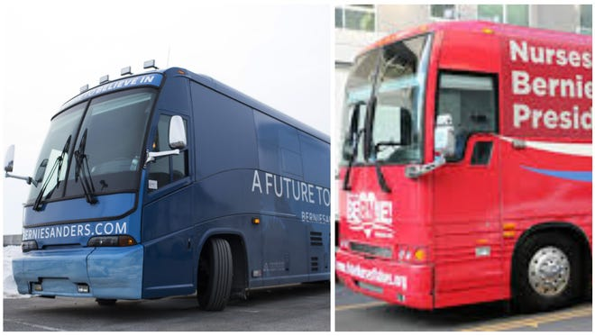 Two buses are roaming Iowa on behalf of Democratic presidential candidate Bernie Sanders. One belongs to his campaign, left, and the other belongs to a pro-Sanders super PAC, right.