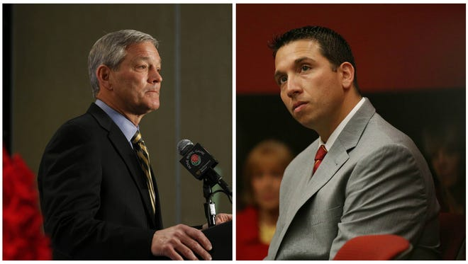 Iowa football coach Kirk Ferentz, left, and Iowa State football coach Matt Campbell, right.