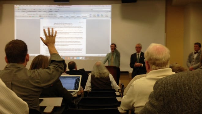 Ball State University faculty members discuss a resolution of no-confidence in the university's board of trustees.