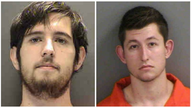 From left to right: Jacob Bruce Bickel, 22, and 18-year-old Michael Donald Roe were arrested by authorities on child pornography charges.