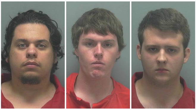 From left to right: Alexander Dovi, Allen Demler, and Hunter Bates were arrested for driving around Bonita Springs and exploding mailboxes.