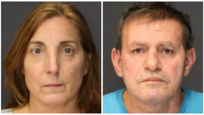 (Left) Linda Famelico of Pearl River charged with prescription drug sales, Aniello Famelico of Pearl River charged with prescription drug sales (right).