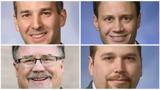 Clockwise from top left: State Reps. Andy Schor, D-Lansing, Tom Leonard, R-DeWitt Township, Brett Roberts, R-Eaton Township, and Tom Cochran, D-Mason