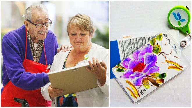 Scenes from 96-year-old Plato Pavis' exhibit Thursday at HealthPark Medical Center in south Fort Myers. Pavis has volunteered at HealthPark since 2000 and is painting tiles for the healing ceilings project of Lee Memorial's arts in healthcare program.