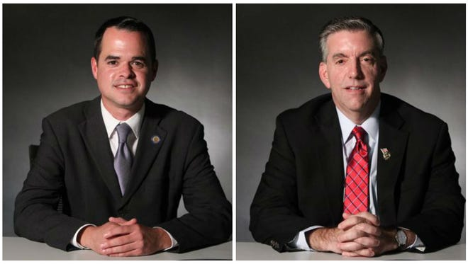 Democrat David Carlucci, left, is defending his seat against Thomas DePrisco, right. The two met recently with The Journal News editorial board to outline their positions on taxes, education, the opioid epidemic and more in advance of the Nov. 8 general election.