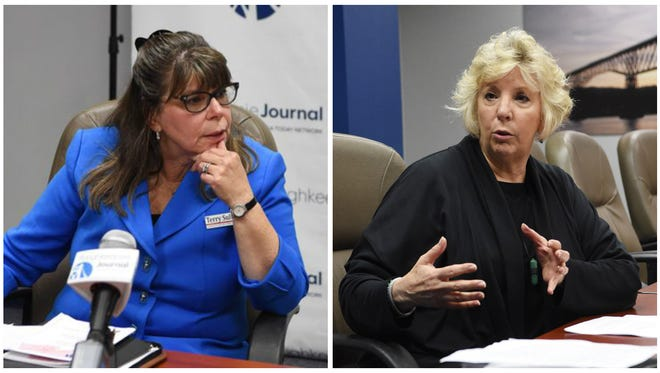 Theresa (Terry) Sullian, left, and Didi Barrett, right, discuss issues at a Poughkeepsie Journal editorial board meeting in October 2016. Barrett, the Democratic incumbent, is facing off against Sullivan, a Republican, for the 106th Assembly District.