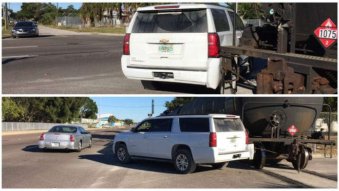 A train crashed into an SUV at Dora Street and Evans Avenue Monday morning.