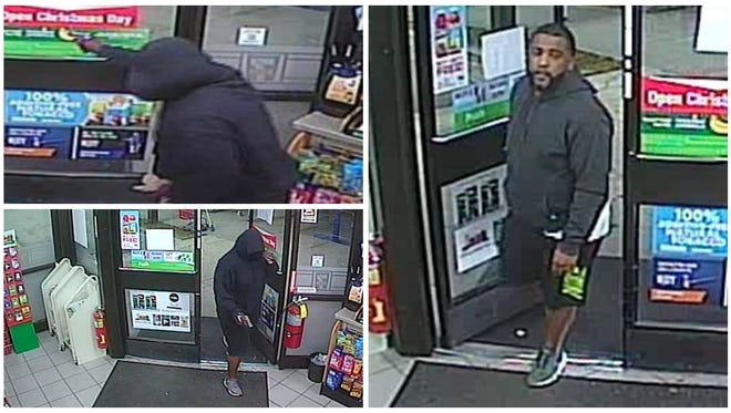 The Lee County Sheriff's Office is seeking information on a suspect in the Dec. 8 robbery of a local 7-Eleven. The two photos on the left are thr suspect. The photo on the left is a subject detectives say may have information in the case.