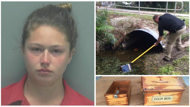 Kayla Harber, 18, and another female teen were arrested for the theft of a collection box at a local Catholic church. Lee County Sheriff's Office detectives recovered the box in a nearby canal.