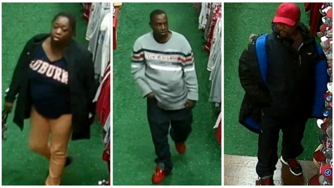 These three were seen stealing from a Bama Fever Tiger Pride store in Prattville.