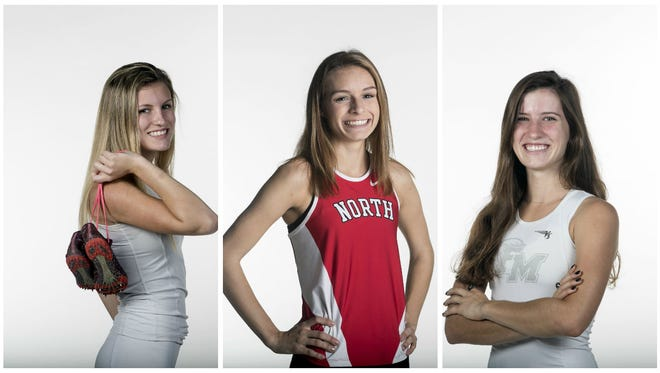 The 2016 All-Area Girls Cross County Runner of the Year finalists are (from left) Fiona Kurland, Kayla Easterly and Krissy Gear.