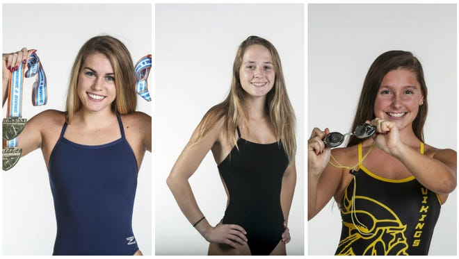 The All-Area Girls Swimmer of the Year finalists are (from left) Alina Faunce, Journi Northorp and Hannah VanDress