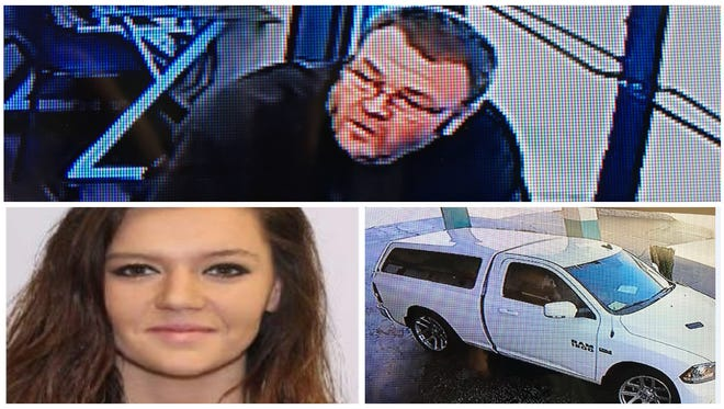 Robert Woodward, top, and Madison Hall, bottom, have been identified as con artists who have scammed a number of lee County residents. They were sighted recently driving the above white truck
