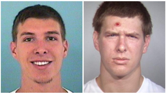 Photos of Caleb Bartels, 27, who is wanted on a homicide charge and other felony charges including aggravated assault, burglary and criminal damage, He has an active arrest warrant issued from Tempe, Ariz.