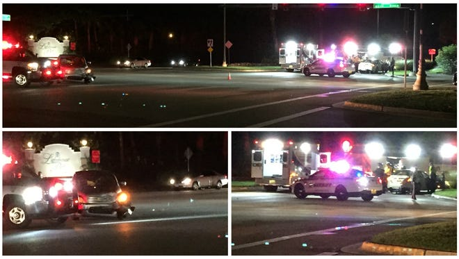 A two-car crash caused at least one injury and a road blockage on Three Oaks. Three Oaks Parkway and Coconut RFoad Monday night