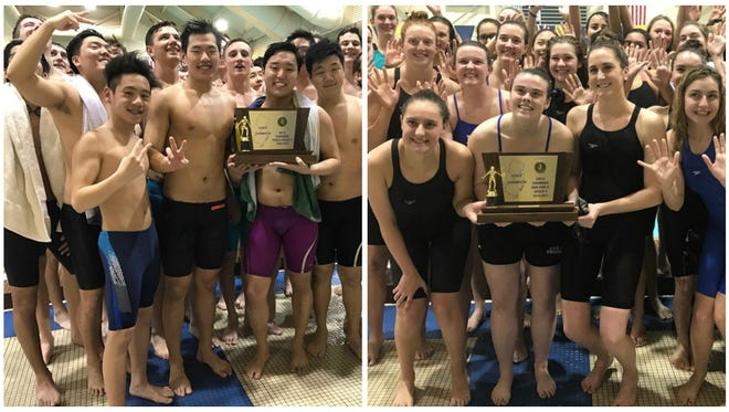 The NV/Demarest boys swimming team (left) and IHA girls swimming team (right) celebrate championship wins at TCNJ.