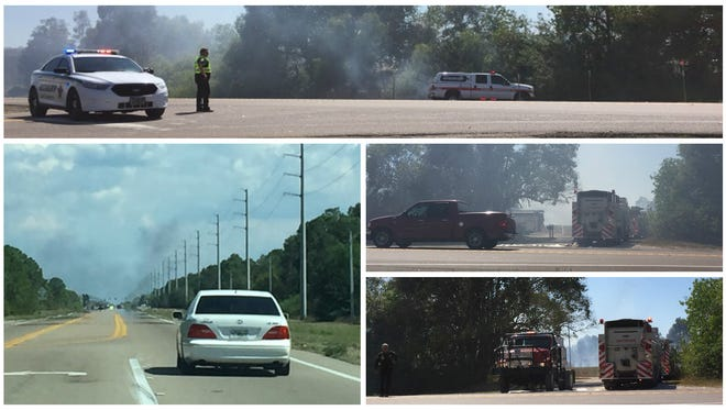 Firefighetrs knocked down a blaze behind an apartment along state Road 82 at Jaguar Boulevard Sunday afternoon.