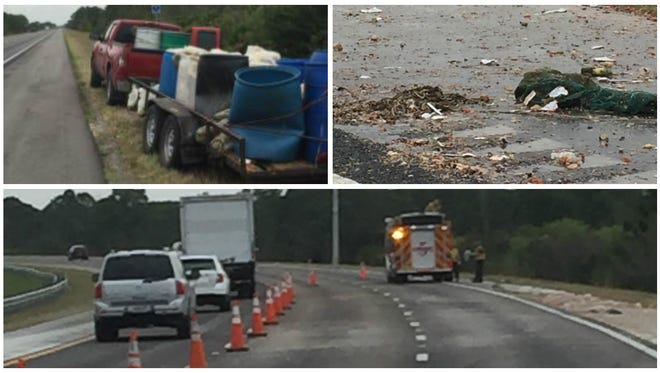 A spill of used food closed a portion of I-75 on Monday in Charlotte County.