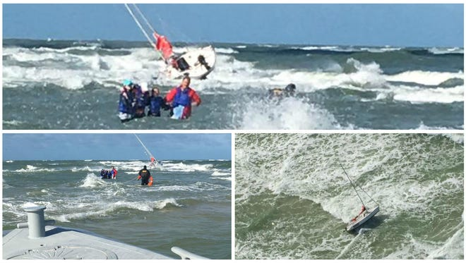 Four people were rescued from a sailboat of Redfish Pass in Lee County on Tuesday.