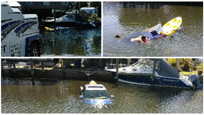 A driver accidentally submerged his truck while trying to launch a kayak on Matlacha on Monday.