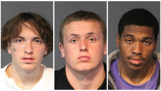 Brian Peterson, later identified as 19-year-old Jacob Poochigan, Mathew Gray, 18, and Damarcus Patrick, 22, were all booked into the Washoe County jail on several felony charges after robbing a woman at gun point. Poochigan was also accused of sexually assaulting the woman.