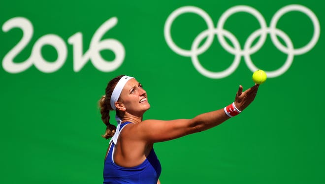 In a photo from Aug. 13, 2016, Petra Kvitova plays against Madison Keys  during the women's tennis singles bronze medal match at Olympic Tennis Centre.