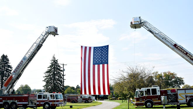 A ceremony Sunday, Oct. 16, 2016, at Prospect Hill Cemetery in North York honors fallen York County firefighters and other first responders who have died in the line of duty. Dawn J. Sagert photo