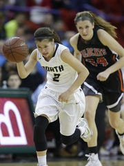 Appleton North's Kari Brekke (2) picks up a loose ball and races down the court past Verona's Alex Luehring during the WIAA Division 1 girls state tournament at the Resch Center.