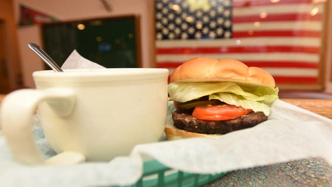 The burger and soup special at the Zanesville VFW Post 1058. The post has been open to the public for 15 years.