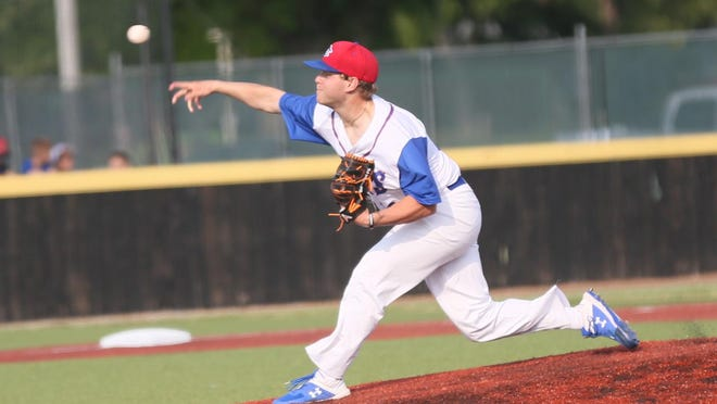 The Hays Larks' Wyatt Divis brings a pitch to the plate on Saturday against the Colorado Pirates on Saturday at Larks Park.