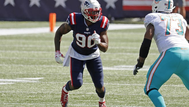 New England Patriots linebacker Shilique Calhoun rushes against the Miami Dolphins during an NFL football game at Gillette Stadium, Sunday, Sept. 13, 2020 in Foxborough, Mass.