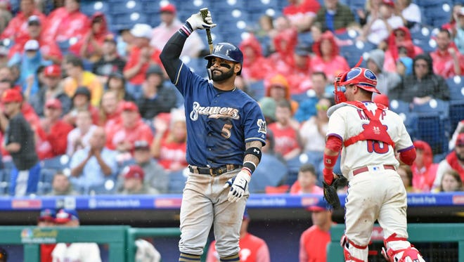 Jonathan Villar reacts after striking out during the sixth inning against the Phillies on Sunday at Citizens Bank Park.