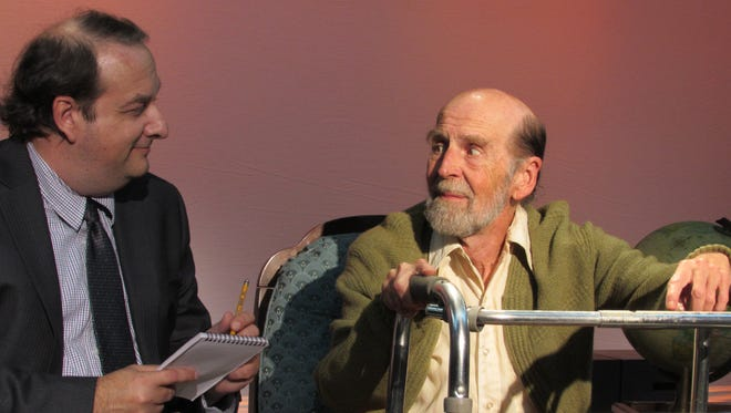"""Lee Bridges, left, and Bill Nowell during a rehearsal for """"Tuesdays with Morrie."""""""