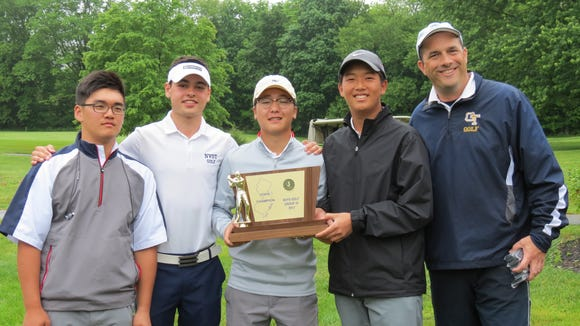 NV/Old Tappan repeated as  Group 3 champ. From left: Ryan Lee, Ryan Travers, Chan Park, Sam Yom, and coach Tom Quinn