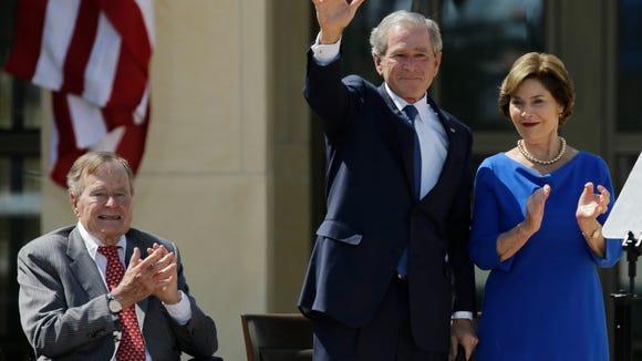 Former president George H.W. Bush at the dedication