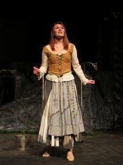 Actress Rachel Brooks rehearses for her role as Cinderella