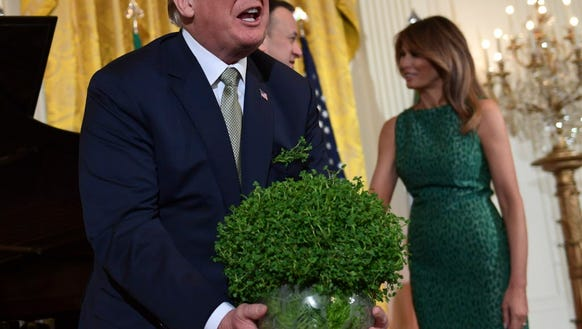President Trump sets down the traditional gift of a