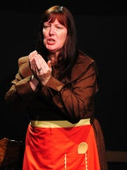"Susan Schoaps, as Sister Butterworth, rehearses for ""The Book of Liz"" opening at Pentacle Theatre on May 29."