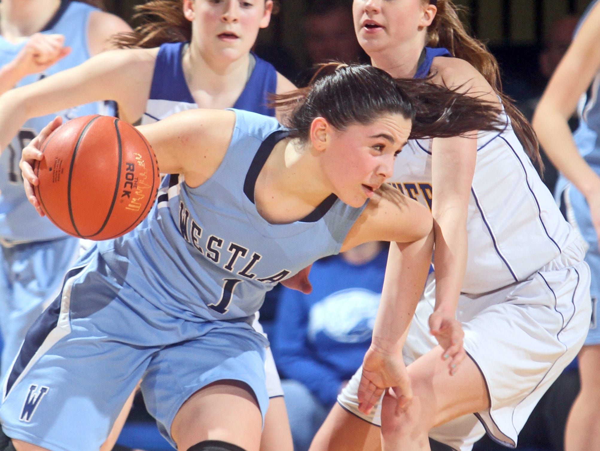 Ardsley defeated Westlake 61-39 in a Class B girls basketball semifinal at the Westchester County Center in White Plains Feb. 24, 2015.