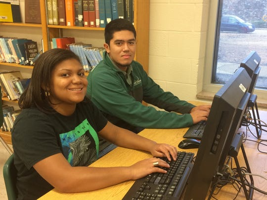 Najah Muhammad and Fernando Lopez, two students in Erika Sugarmon's social studies class at White Station High