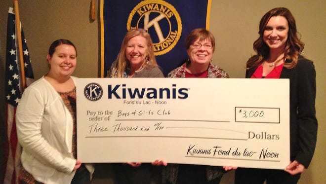 Fond du Lac Noon Kiwanis donated $3,000 in support of the Boys & Girls Club's annual Spell for Great Futures. Pictured are, from left: Andrea Brown, president-elect; Joan Pinch, secretary; Louise Gudex, president; and Tiffany Heim, director of Resource Development.