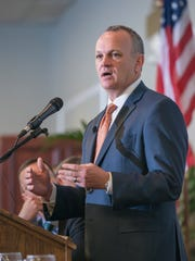 Richard Corcoran, the former speaker of the Florida House of Representatives and current education commissioner, speaks during a meeting of the Panhandle Tiger Bay Club at New World Landing in Pensacola in March 2017.