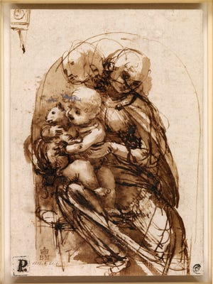 "This drawing provided by the New Mexico Museum of Art shows a Leonardo da Vinci, sketch called ""The Virgin and Christ Child with a cat"", circa, 1478–1481.  A select collection of drawings through the ages has come from across the ocean to the New Mexico Museum of Art. ""Lines of Thought: Drawing from Michelangelo to Now: from the British Museum"" opened at the end of May with 70 works curated from 50,000 drawings from the London museum's Prints and Drawings collection, representing just a tiny part of the museum's eight million cultural and artistic objects."