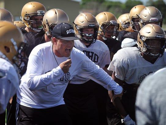 Rider Raiders head coach Marc Bindel gets his team