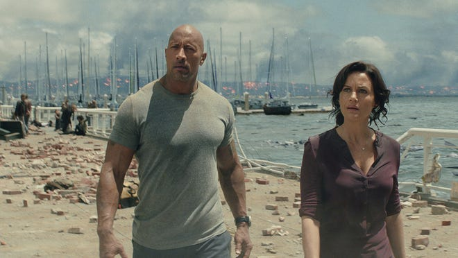 "Dwayne Johnson and Carla Gugino star in ""San Andreas."""